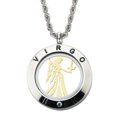 Virgo Zodiac Reversible Two-Tone Stainless Steel Locket Pendant Necklace