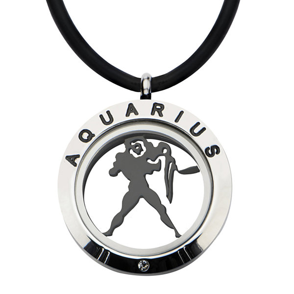 Aquarius Zodiac Reversible Stainless Steel Locket Pendant Necklace
