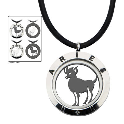 Aries Zodiac Reversible Stainless Steel Locket Pendant Necklace
