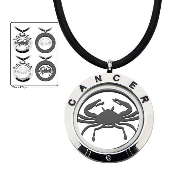 Cancer Zodiac Reversible Stainless Steel Locket Pendant Necklace