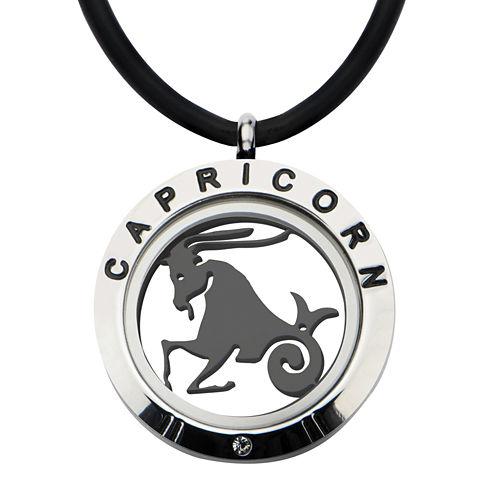 Capricorn Zodiac Reversible Stainless Steel Locket Pendant Necklace