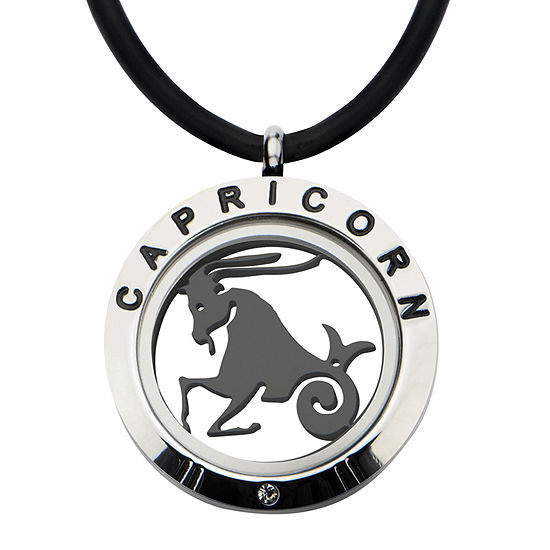 Capricorn Zodiac Reversible Stainless Steel Locket Pendant Necklace