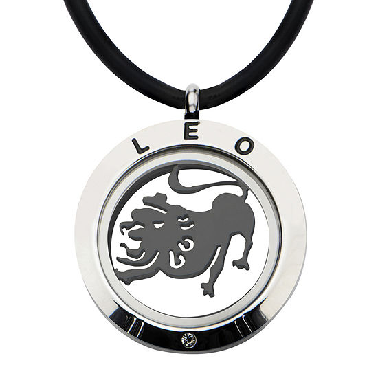 Leo Zodiac Reversible Stainless Steel Locket Pendant Necklace
