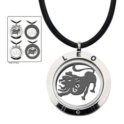 Leo Zodiac Reversible Stainless Steel Locket Pendant Necklace