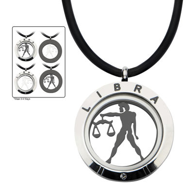 Libra Zodiac Reversible Stainless Steel Locket Pendant Necklace