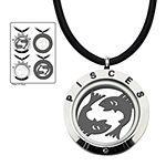Pisces Zodiac Reversible Stainless Steel Locket Pendant Necklace