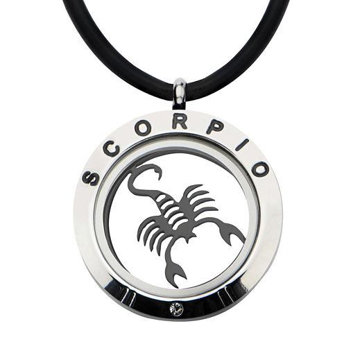 Scorpio Zodiac Reversible Stainless Steel Locket Pendant Necklace