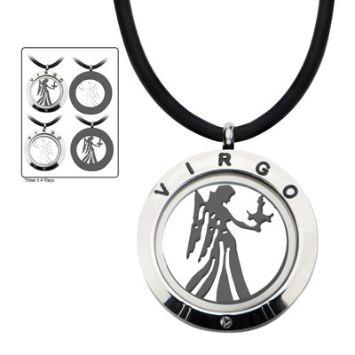 Virgo Zodiac Reversible Stainless Steel Locket Pendant Necklace