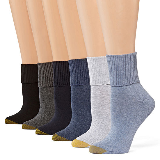 Gold Toe 6 Pair Turncuff Socks Womens