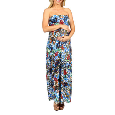 24/7 Comfort Apparel Dappled Florals Maxi Dress-Plus Maternity