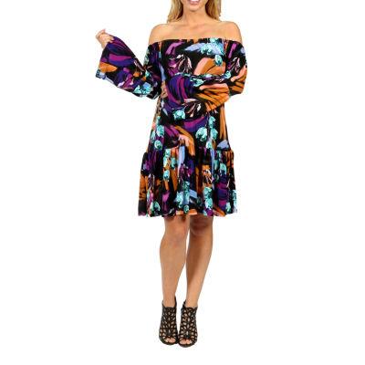 24/7 Comfort Apparel Lush Tropical Drama Peasant Dress-Plus Maternity