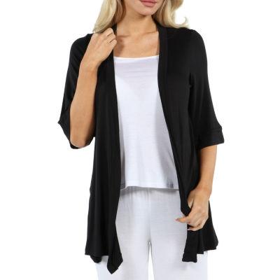 24/7 Comfort Apparel Women's 3/4 Sleeve Open Cardigan