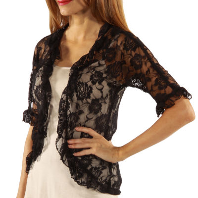 Goddess Black Lace Bolero Cardigan Shrug