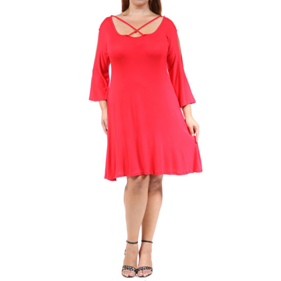 24/7 Comfort Apparel Abstract Neck Split Sleeve Fit & Flare Dress-Plus
