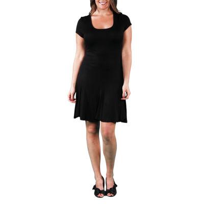 24/7 Comfort Apparel Short Sleeve Fit & Flare Dress-Plus
