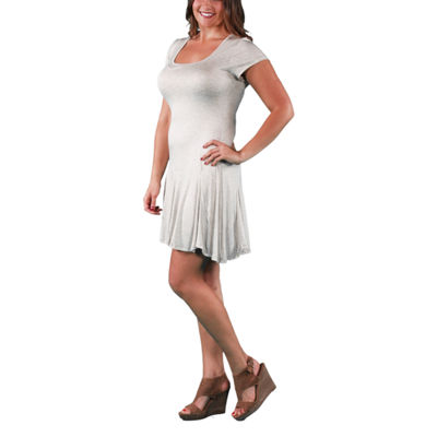 24/7 Comfort Apparel Short Sleeve Fit & Flare Dress-Plus