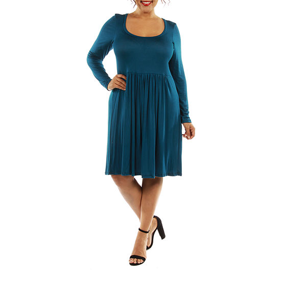 24/7 Comfort Apparel The Must Have A-Line Dress-Plus