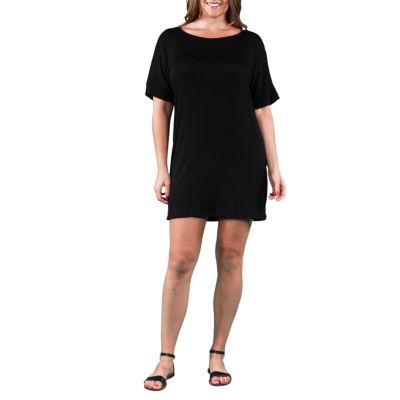 24/7 Comfort Apparel T-Shirt Shift Dress-Plus