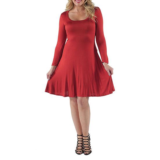 24/7 Comfort Apparel-Plus Casual Fit & Flare Dress