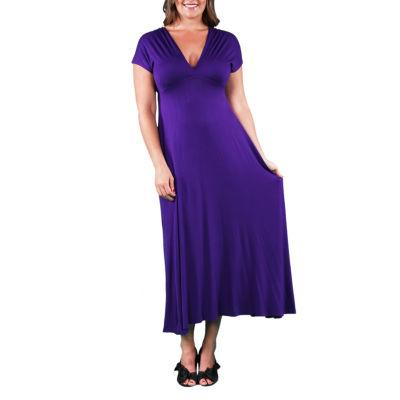 24/7 Comfort Apparel Faux Maxi Dress-Plus