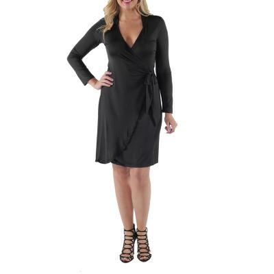 24/7 Comfort Apparel Deep V-Neck Wrap Dress-Plus