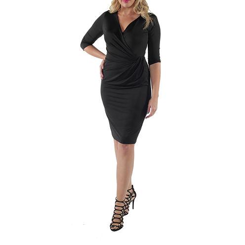 24/7 Comfort Apparel 3/4 Sleeve Wrap Dress-Plus