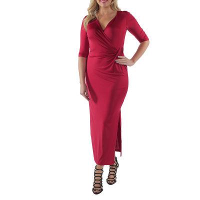 24/7 Comfort Apparel V-Neck Wrap Dress-Plus