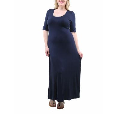 24/7 Comfort Apparel Solid Maxi Dress-Plus