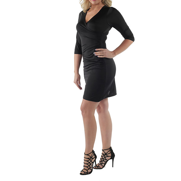 24/7 Comfort Apparel 3/4 Sleeve Faux Wrap Dress-Plus