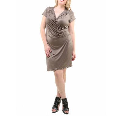 24/7 Comfort Apparel Cap Sleeve Faux Wrap Dress-Plus