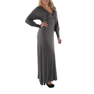 24/7 Comfort Apparel Empire Maxi Dress-Plus