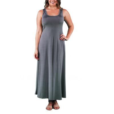 24/7 Comfort Apparel Scoop Neck Tank Maxi Dress-Plus