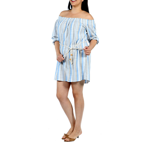 24/7 Comfort Apparel Trade Winds Shift Dress-Plus