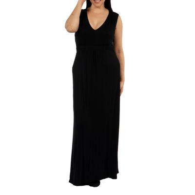 24/7 Comfort Apparel Island Fire Maxi Dress-Plus