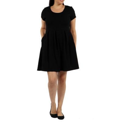 24/7 Comfort Apparel Spring Fling Fit & Flare Dress-Plus