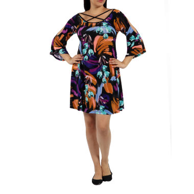 24/7 Comfort Apparel Wonderful Watercolors Criss Cross Shift Dress-Plus
