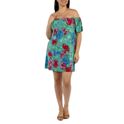24/7 Comfort Apparel Beachside Garden Shift Dress-Plus