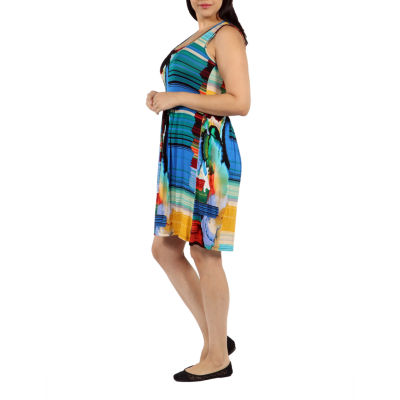 24/7 Comfort Apparel French Watercolor Sundress-Plus