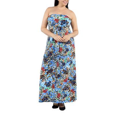 24/7 Comfort Apparel Dappled Florals Maxi Dress-Plus