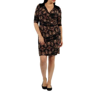 24/7 Comfort Apparel Unforgettable First Impression Wrap Dress-Plus