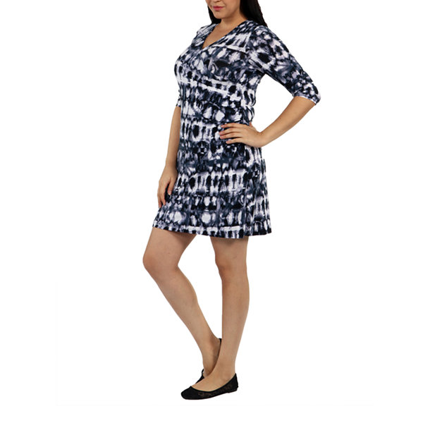 24/7 Comfort Apparel On Trend And Timeless Wrap Dress-Plus