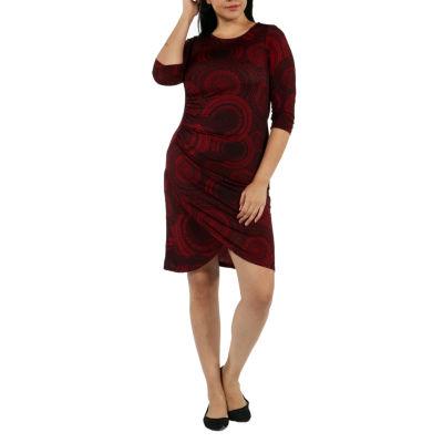 24/7 Comfort Apparel Center Of Attention Sheath Dress-Plus