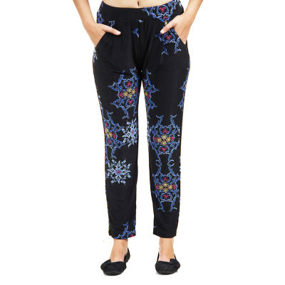 24/7 Comfort Apparel Blue And Black Fall Floral Knit Pull-On Pants