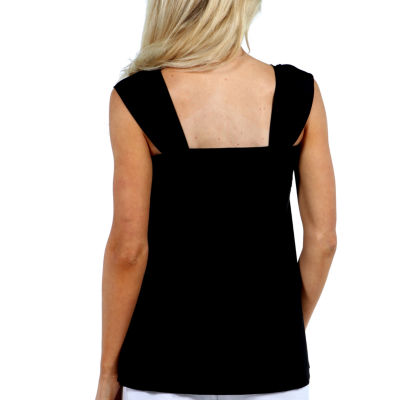 24/7 Comfort Apparel Sleeveless Side Tie Knit Tank Top-Plus