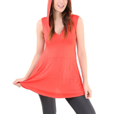 24/7 Comfort Apparel Sleeveless Tunic Knit Hoodie