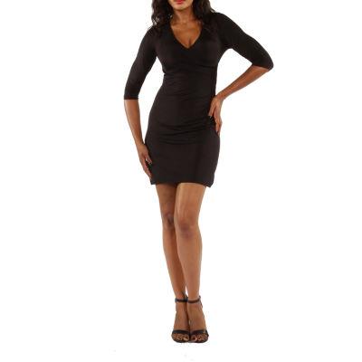24/7 Comfort Apparel Faux Wrap Dress