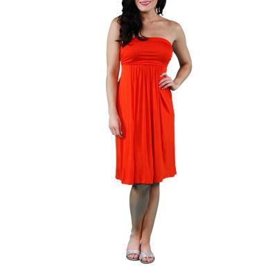 24/7 Comfort Apparel Strapless Empire Waist Dress