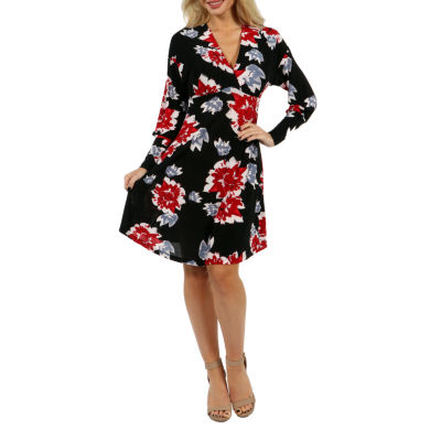 24/7 Comfort Apparel Charming Color Splash Empire Waist Dress