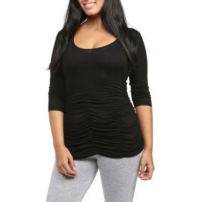 24/7 Comfort Apparel 3/4 Sleeve Shirred T-Shirt-Womens