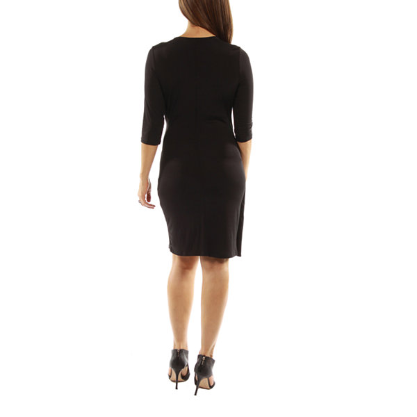24/7 Comfort Apparel Side Gathered Sheath Dress